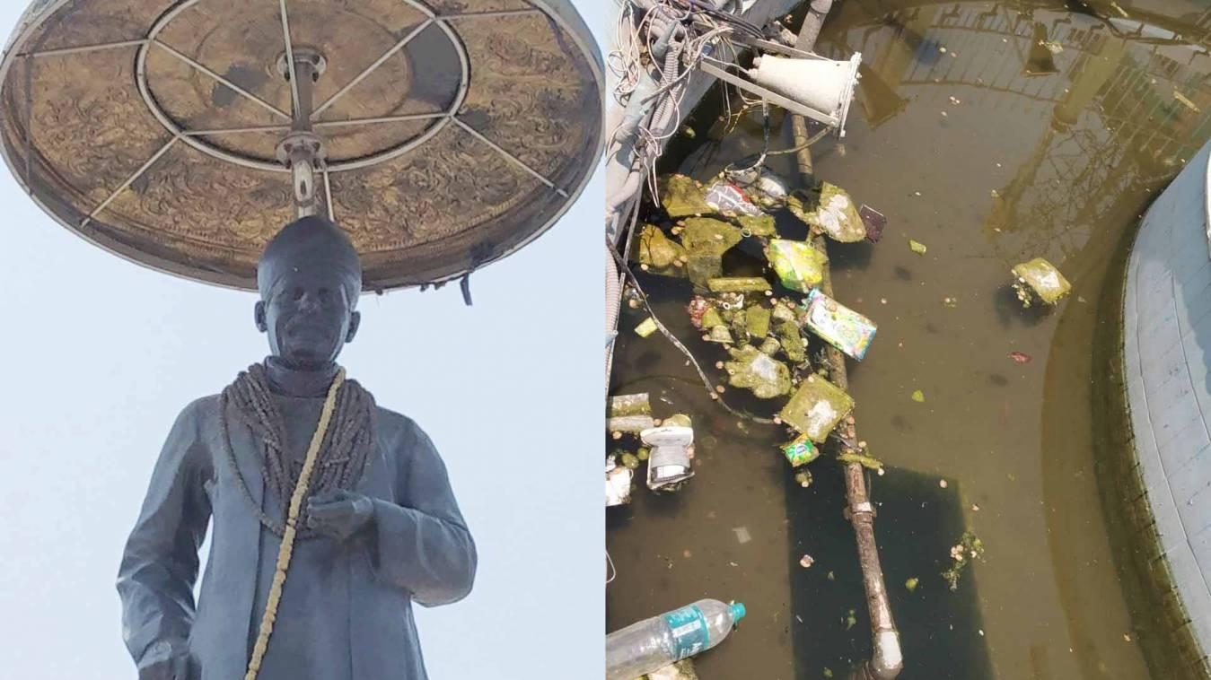 वाराणसी: गंदे पानी में खड़ी प्रतिमा और धूल की मोटी चादर, क्या यह नहीं हैं महामना का अनादर?